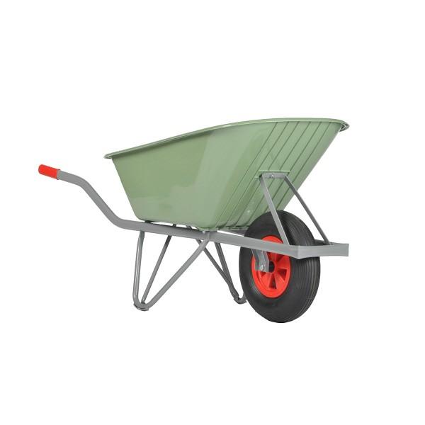 Schubkarre NOKA-Basic, 90 Liter, 150 kg Tragkraft, Luftreifen, Kunststoffmule grün