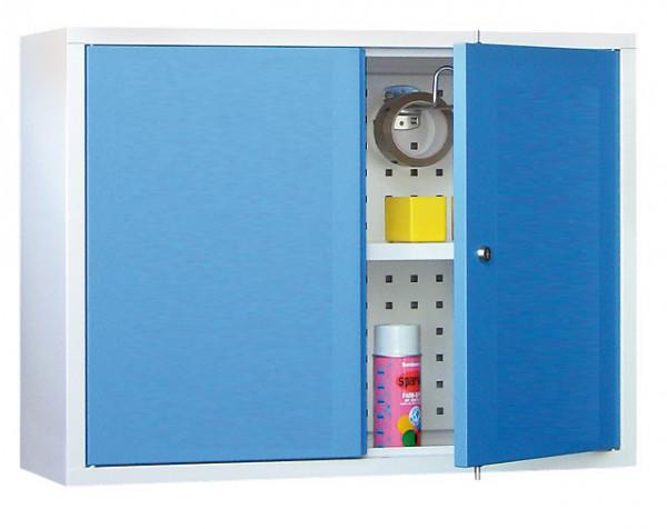 Werkstatt-Hängeschrank 800x300x600 mm BxTxH, aus Metall mit 2 Vollblechtüren, Lochblech-Rückwand