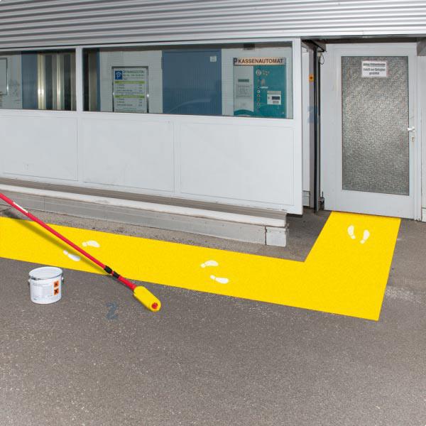 Boden-Aussen-Markierfarbe, gelb, für Flächen und Streifen, 5 l-Gebinde