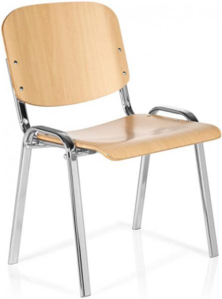 Besucherstühle, Set 4 Stühle, Buche / chrom, stapelbar