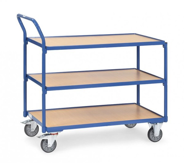 Tischwagen 1000x600 mm, 300 kg Tragkraft, 3 Etagen, Holzplattformen