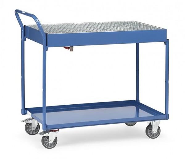 Tischwagen mit öldichten Wannen und Gitterrost, 300 kg Tragkraft, 1000x600 mm Ladefläche