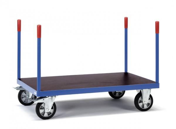 Rungenwagen 1200x800 mm, 1200 kg Tragkraft, rutschsichere Siebdruckplatte