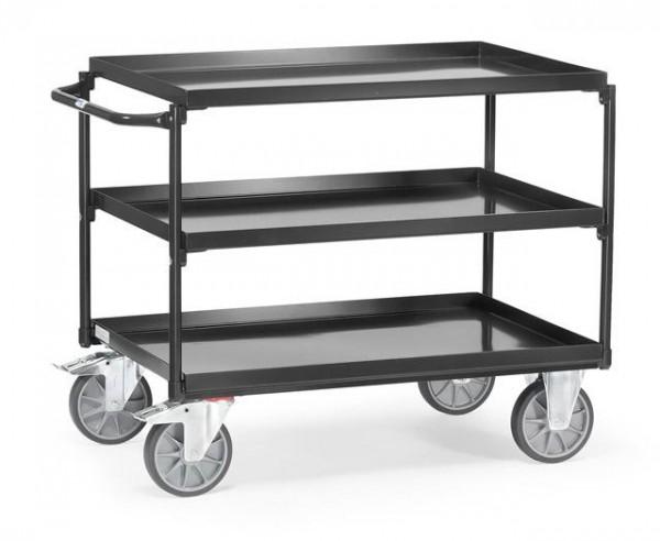 Tischwagen mit öldichter Wanne, anthrazit 400 kg Tragkraft, 850x500 mm