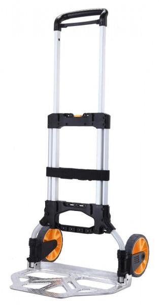 Kompakte Alu-Stapelkarre mit ausziehbarem Griff, klappbare Schaufel 590x450 mm, 150 kg Tragkraft
