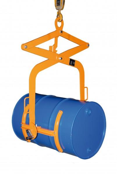 Fasswendezange für vertikales Heben, 200 Liter Stahl-Spundfässer, 300 kg Tragkraft, Gelborange