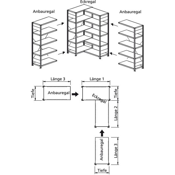 Anbauregel mit 5 Böden für Eckregal 2000x1000x500, verzinkt 100 kg