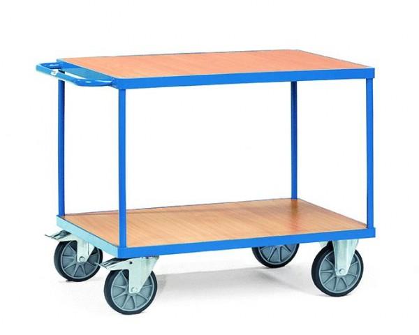 Schwerer Tisch- und Montagewagen 1000x600 mm, 600 kg Tragkraft, Holzplattform