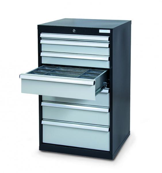 Schubladenschrank 600x575x1020 mm, 7 Schubladen, anthrazit, inkl Einteilungs-Sets