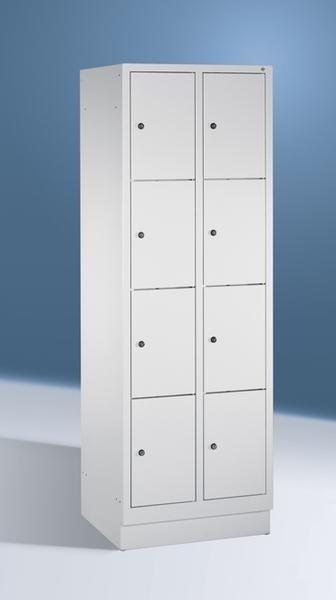 Fächerschränke mit Sockel, Breite 610 mm mit 8 Schließfächern übereinander je 300 mm breit, 3 Farben