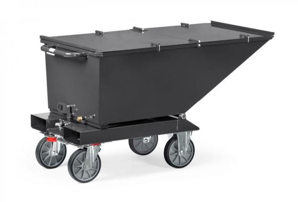 Muldenkipper mit Deckel anthrazit, 250 Liter, 750 kg Tragkraft, Lenk- und Bockrollen