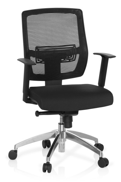 Bürostuhl / Drehstuhl, 44-57 cm Sitzhöhe, mit hoher Lehne + Armlehnen, Fußkreuz Edelstahl