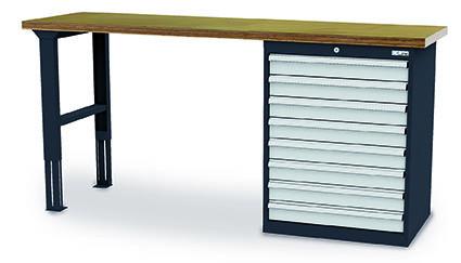 Werkbank 2000x600x960 mm, 8 Schubladen Breite 700 mm, höhenverstellbar, 1000 kg Tragkraft