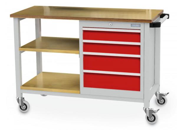 Mobile Werkbank 1200x540x880 mm, mit 2 Ablagen und 5 Schubladen, 500 kg Tragkraft, fahrbar
