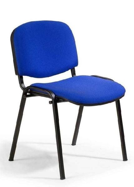 Besucherstühle, Set 4 Stühle, blau / schwarz