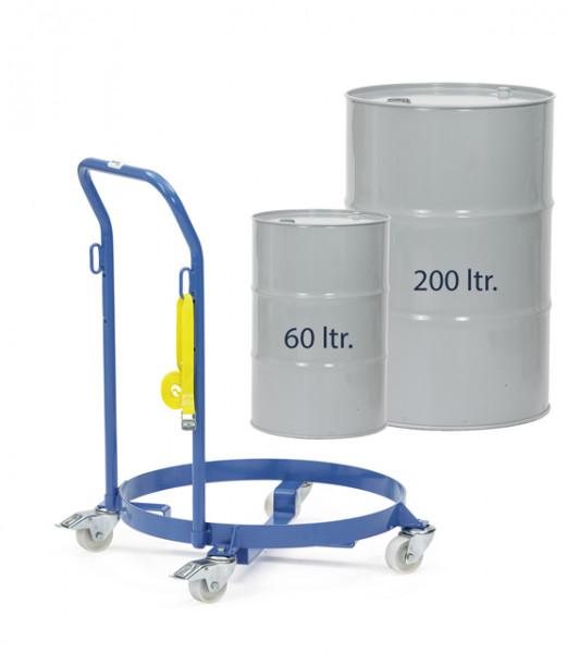 Fassroller 250 kg Tragkraft, 60 und 200 Liter Fässer, mit Schiebebügel Höhe 914 mm, 4 Lenkrollen