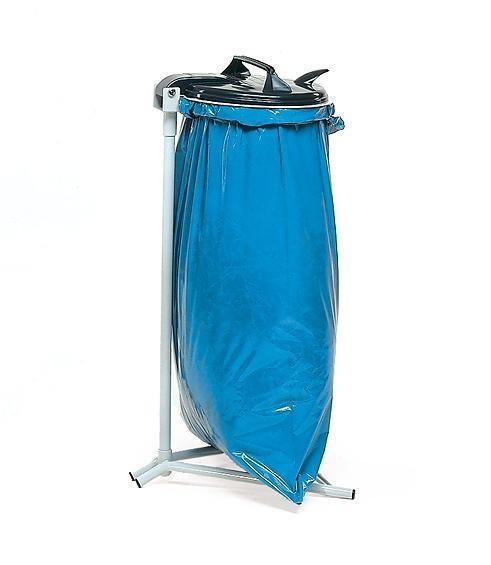 Abfallsammler mit 4 Standfüßen, für 120 Liter Säcke, mit PVC Deckel und Klemmring