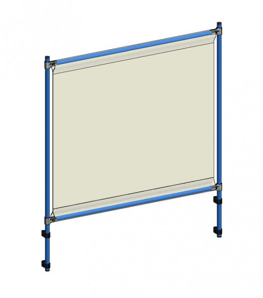 Infektionsschutzrahmen 1260x49x1410 mm, Anbausatz, PVC Klarsichtfolie glasklar