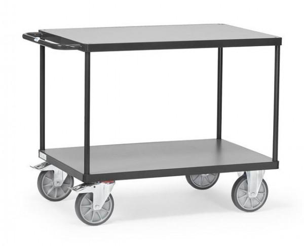 Tischwagen 850x500 mm, anthrazit 500 kg Tragkraft, Holzplattform mittelgrau