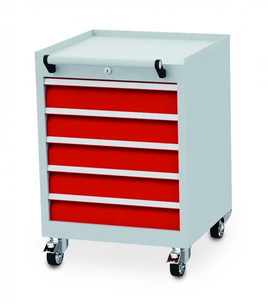Schubladenschrank fahrbar 530x500x750 mm, 300 kg Tragkraft, 5 Schubladen