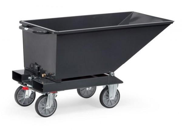 Muldenkipper anthrazit 250 Liter, 750 kg Tragkraft, Lenk- und Bockrollen