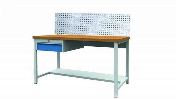 Arbeitstisch - Werkbank 1500x750x859 mm, mit Hakenwand und 1 Schublade, 200 kg Tragkraft