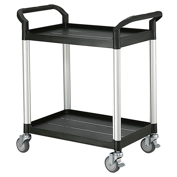 Tischwagen 850x480 mm, 250 kg Tragkraft, Etagen und Schiebebügel aus Kunststoff schwarz, Aluminium