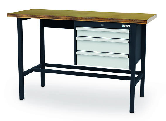 Arbeitstisch 1500x600x760-1060 mm, 3 Schubladen, höhenverstellbar, 200 kg Tragkraft
