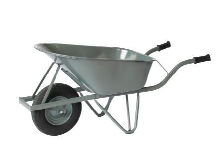 Verstärkte Baustellen-Schubkarre, 250 kg Tragkraft, Inhalt 80 Liter, Luftreifen