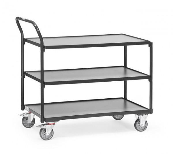 Tischwagen 850x500 mm, anthrazit 300 kg Tragkraft, Holzplattform mittelgrau