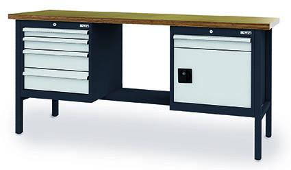Kastenwerkbank 2000x600x960 mm,1 Flügeltür, 5 Schubladen Breite 600 mm, 800 kg Tragkraft, anthrazit-