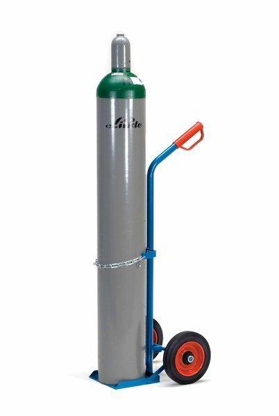 Stahlflaschenkarren 100 kg Tragkraft, 20-50 Liter, mit Kettensicherung und Vollgummiräder