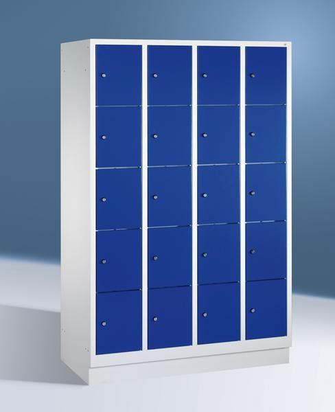 Fächerschränke mit Sockel, Breite 1220 mm, 20 Schließfächer übereinander je 300 mm breit, 3 Farben