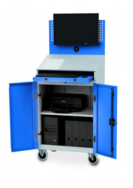 Stationärer Computerschrank mit Arbeitsplatte für PC, Monitorwand, Tastaturfach, 680x500x1460 mm