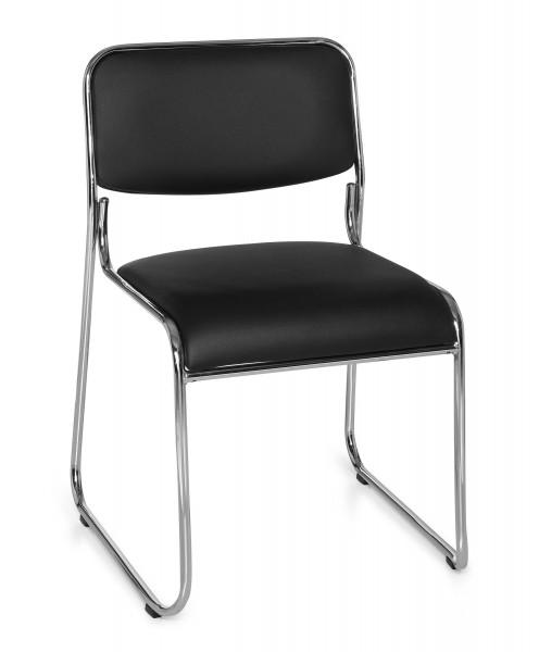 Konferenzstühle, Set 4 Stühle, schwarz / silber,Kunstlederbezug, Modell OFFICE