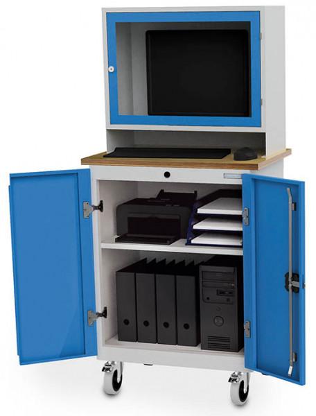 Fahrbarer Computerschrank mit Arbeitsplatte für PC, Monitorwand, Tastaturfach, 750x500x1600 mm