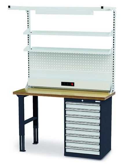 Werkbank 1500x600x860 mm, 7 Schubladen Breite 600 mm, höhenverstellbar, mit Aufbau 1000 kg Tragkraft