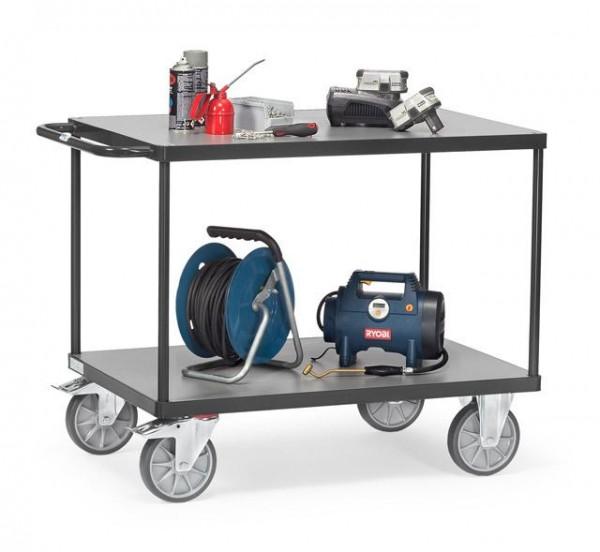 Schwerer Tisch- und Montagewagen, 1000x600 mm, anthrazit, 600 kg Tragkraft,