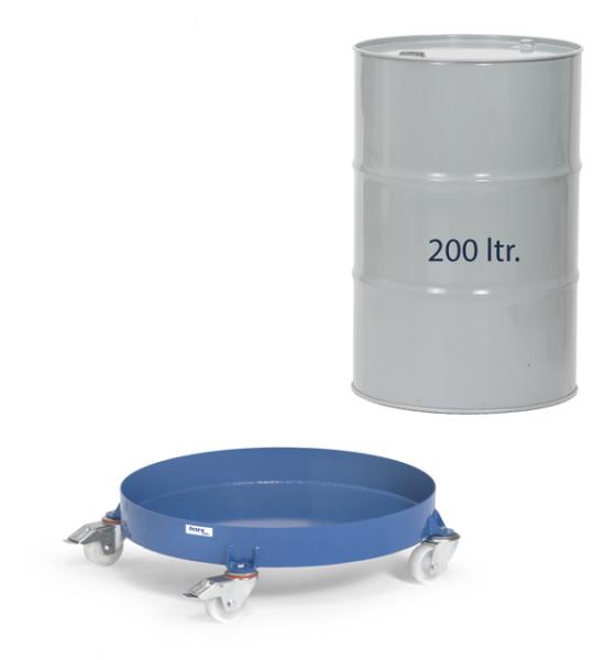 Fassroller mit Wanne, 250 kg Tragkraft, 200 Liter Fässer, 4 Lenkrollen, 2 mit Feststeller