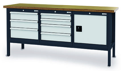 Kastenwerkbank 2000x600x960 mm,1 Tür, 7 Schubladen Breite 600 mm, 800 kg Tragkraft, anthrazit