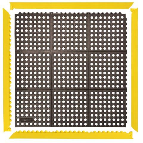 Schweißer Anti-Ermüdungsmatte Cushion Ease, 1,04 qm, gelocht schwarz mit Rand gelb (1018x1018 mm)