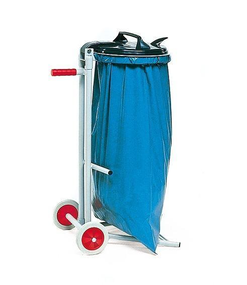 Abfallsammler fahrbar, für 120 Liter Säcke, mit PVC Deckel und Klemmring