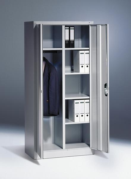 Flügeltürschrank mit Garderobefach und Etagenböden Breite 930x500 mm, Höhe 1950 mm, 3 Farben