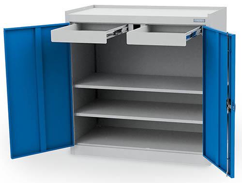 Flügeltürschrank 1000x500x1000 mm, 2 Fachböden, 2 Schubladen, Abrollrand - unser Bestseller -