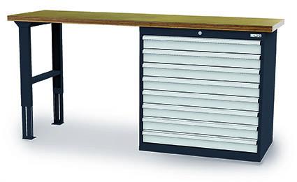 Werkbank 2000x600x1060 mm, 9 Schubladen Breite 900 mm, höhenverstellbar, 1000 kg Tragkraft