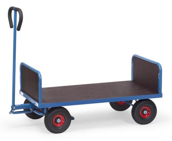 Handwagen 1200x700 mm, 500 kg Tragkraft, Luft-Bereifung, 2 Stirnwände, wasserfeste Ladefläche