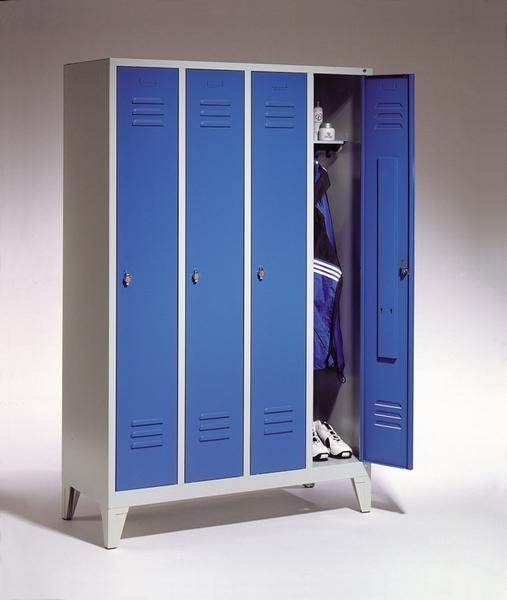 Garderoben-Stahlspinde 4 Abteile mit Füßen, Breite 1690 mm, Höhe 1850 mm gibt es in 3 Farben