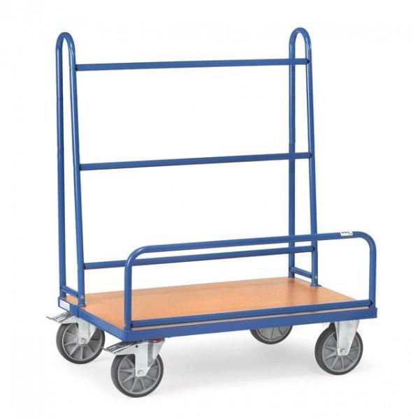 Plattenwagen einseitig, 1270x535 mm, 600 kg Tragkraft, feststehende Bügel