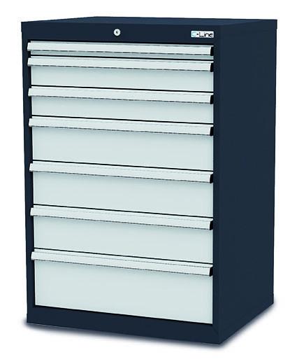 Schubladenschrank + Einteilungs-Sets, 7 Schubladen, 900x575x1020 mm, anthrazit,