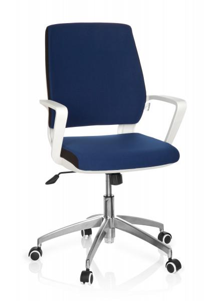 Bürostuhl / Drehstuhl, 45-55 cm Sitzhöhe mit ergonomisch geformter Lehne + Armlehnen, Farbe blau